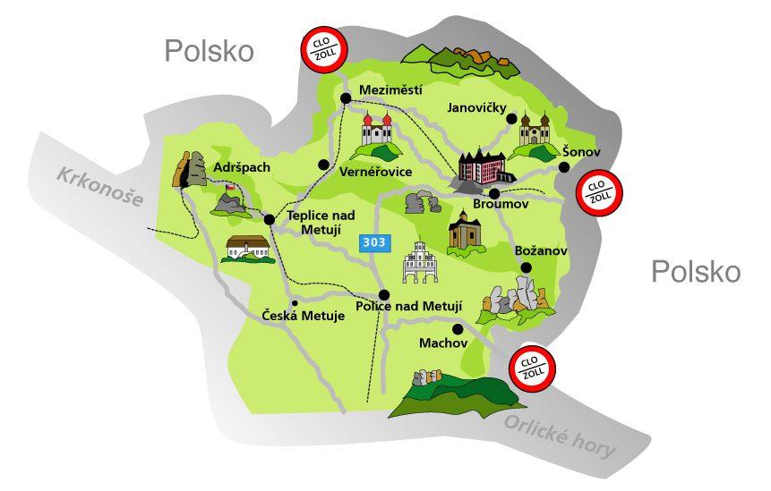 Mapa Broumovsko